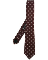 Corbata de seda bordada en marrón oscuro de Alexander McQueen