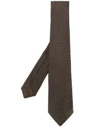 Corbata de seda bordada marrón de Kiton
