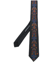 Corbata de seda bordada negra de Alexander McQueen