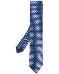 Corbata de seda con estampado geométrico azul marino de Ermenegildo Zegna