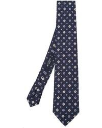 Corbata de seda con estampado geométrico azul marino de Etro