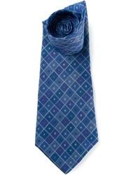 Corbata de seda con estampado geométrico azul marino de Hermes