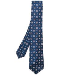 Corbata de seda con estampado geométrico azul marino de Kiton