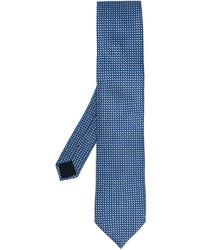 Corbata de seda con estampado geométrico azul marino de Lanvin