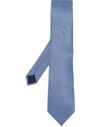 Corbata de seda con estampado geométrico celeste de Lanvin