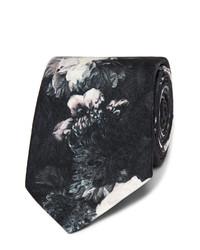 Corbata de seda con print de flores negra de Alexander McQueen
