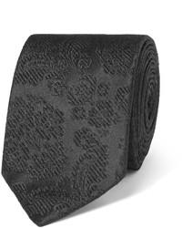Corbata de seda con print de flores negra de Dolce & Gabbana