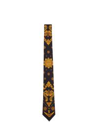 Corbata de seda con print de flores negra de Versace