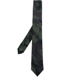 Corbata de Seda de Camuflaje Verde Oscuro de Valentino Garavani