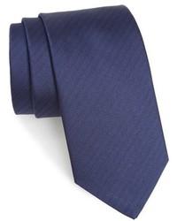Corbata de seda de espiguilla azul marino