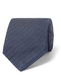 Corbata de seda de espiguilla azul marino de Tom Ford
