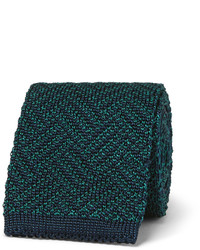 Corbata de seda de espiguilla en verde azulado de Boglioli