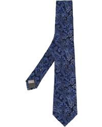 Corbata de seda de paisley azul marino de Canali