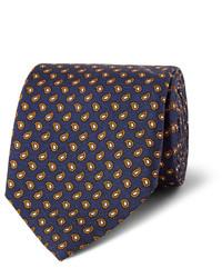 Corbata de seda de paisley azul marino de Dunhill