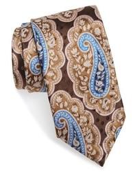 Corbata de Seda de Paisley Marrón Claro