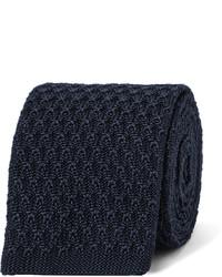 Corbata de seda de punto azul marino de Ermenegildo Zegna