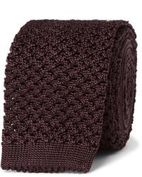 Corbata de seda de punto burdeos de Tom Ford