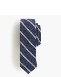 Corbata de seda de rayas horizontales azul marino