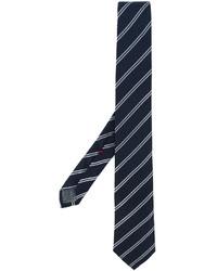 Corbata de seda de rayas horizontales azul marino de Brunello Cucinelli