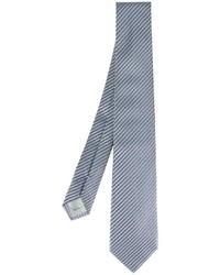 Corbata de seda de rayas horizontales azul de Armani Collezioni