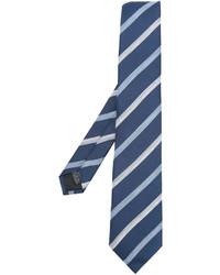 Corbata de seda de rayas horizontales azul de Cerruti