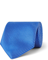 Corbata de seda de rayas horizontales azul de Charvet