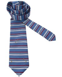 Corbata de seda de rayas horizontales azul de Pierre Cardin