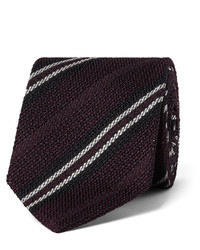 Corbata de seda de rayas horizontales burdeos de Drakes