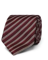 Corbata de seda de rayas horizontales burdeos de Dunhill