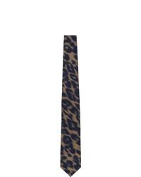 Corbata de seda de rayas horizontales negra de Dries Van Noten