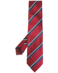 Corbata de seda de rayas horizontales roja de Brioni