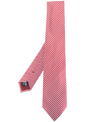 Corbata de seda de rayas horizontales roja de Giorgio Armani