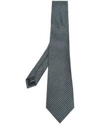 Corbata de seda de rayas horizontales verde oscuro de Z Zegna