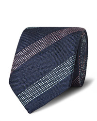 Corbata de seda de rayas verticales azul marino de Richard James