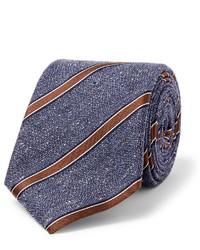 Corbata de seda de rayas verticales azul de Canali