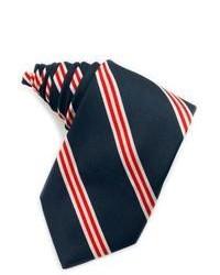 Corbata de Seda de Rayas Verticales Blanca y Roja y Azul Marino