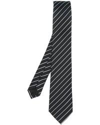 Corbata de seda de rayas verticales negra de Armani Collezioni