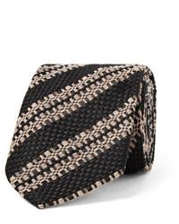 Corbata de Seda de Rayas Verticales Negra de Dries Van Noten