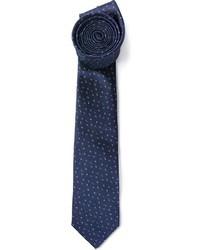 Corbata de seda estampada azul marino de Lanvin