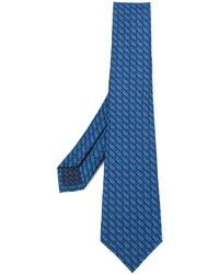Corbata de seda estampada azul de Bulgari