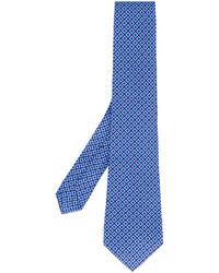 Corbata de seda estampada azul de Kiton