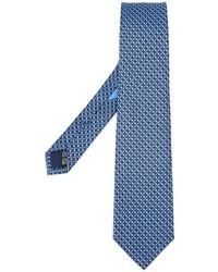Corbata de seda estampada azul de Salvatore Ferragamo