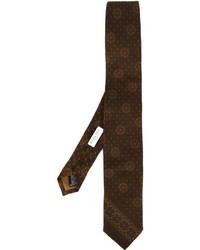 Corbata de seda estampada en marrón oscuro de Boglioli