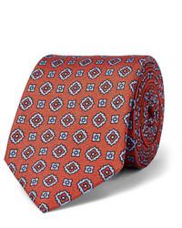 Corbata de seda estampada en tabaco de Dunhill