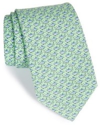 Corbata de seda estampada en verde menta