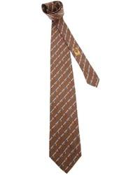 Corbata de seda estampada marrón de Gucci