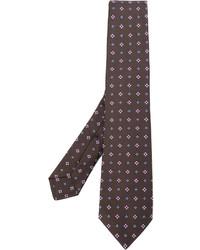 Corbata de seda estampada marrón de Kiton