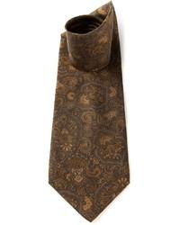 Corbata de seda estampada marrón de Valentino