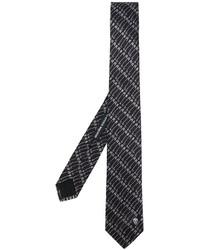 Corbata de seda estampada negra de Alexander McQueen