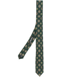 Corbata de seda estampada verde oscuro de Dolce & Gabbana